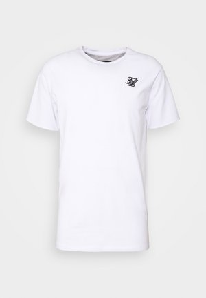 SPACE DYE ROLL SLEEVE TEE - Camiseta básica - white / grey