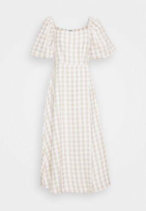 GINGHAM PUFF SLEEVE SPLIT DRESS - Vestido informal - stone