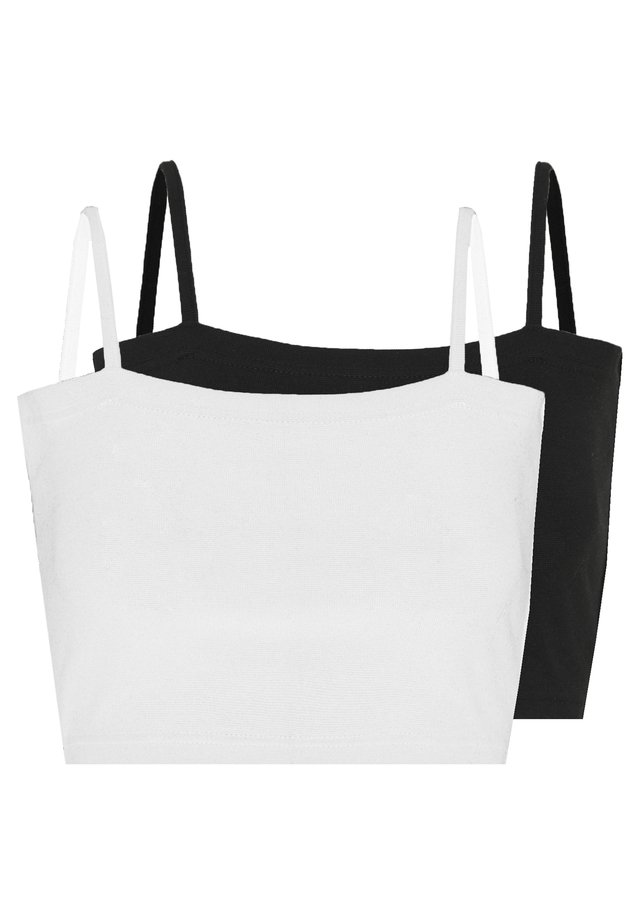BASIC STRAPPY CROP 2 PACK - Top - white/black