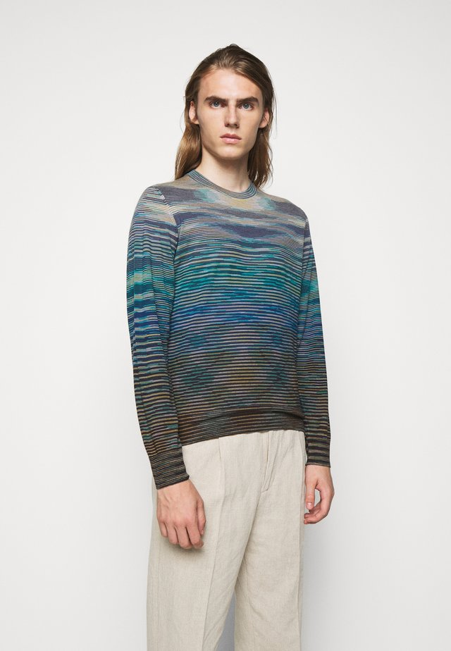 LONG SLEEVE CREW NECK - Jersey de punto - multi-coloured/mottled dark brown