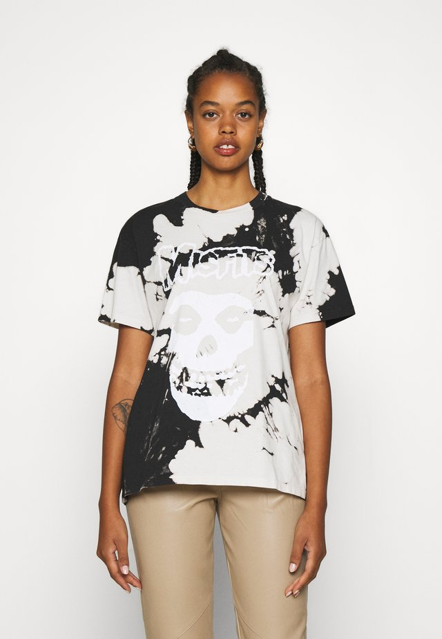 MISFITS TIE DYE TEE - T-shirt med print - black/white