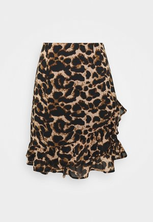 ASYMMETRIC FLOUNCE SKIRT - A-line skirt - brown