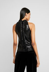 Dorothy Perkins - SEQUIN BOW BACK HALTER - Bluser - black - 2