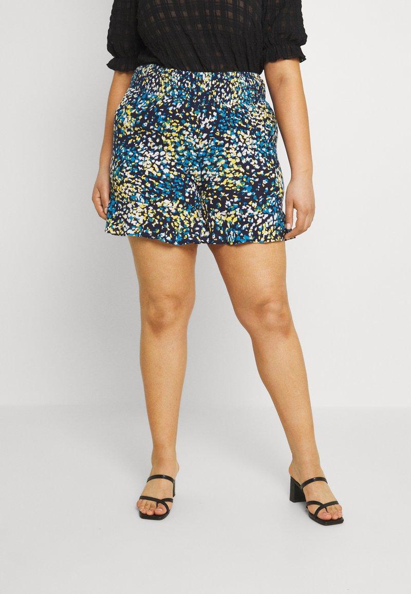 CAPSULE by Simply Be - CRINKLE SHIRRED WAIST FRIM HEM - Shorts - blue