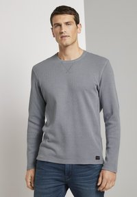 TOM TAILOR - MIT WAFFELSTRUKTUR - Long sleeved top - middle grey melange - 0