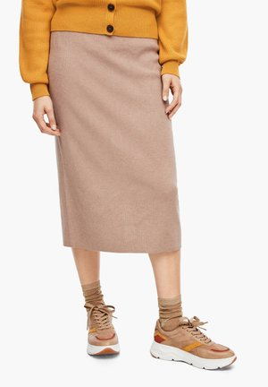 Pencil skirt - beige melange