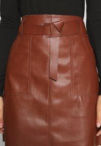 Esqualo - SKIRT FANCY WAISTBELT - Mini skirt - brown - 4