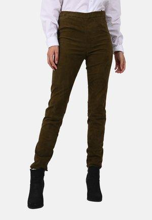 CASSIOPEE - Pantalon en cuir - khaki