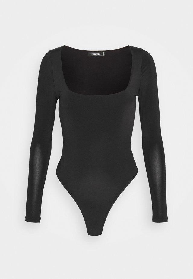SEAM FREE SQUARE NECK - Basic T-shirt - black
