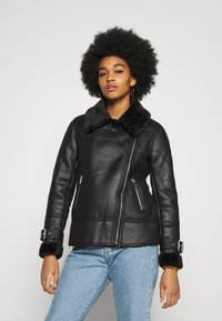 New Look - AVIATOR CHRISSY  - Faux leather jacket - black - 0