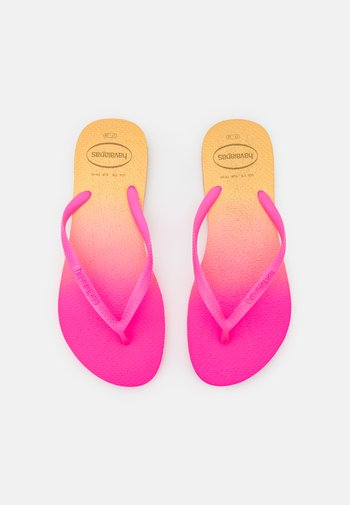 SLIM FIT GRADIENT FLUO - Sandály s odděleným palcem - white/fluorescent pink flux