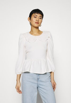EMBROIDERED COLLAR TEXTURED - Blouse - ivory