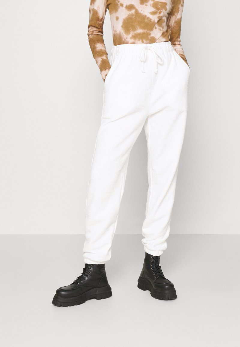 Topshop - TOWELLING - Tracksuit bottoms - white