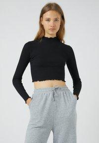 PULL&BEAR - Long sleeved top - mottled black - 0