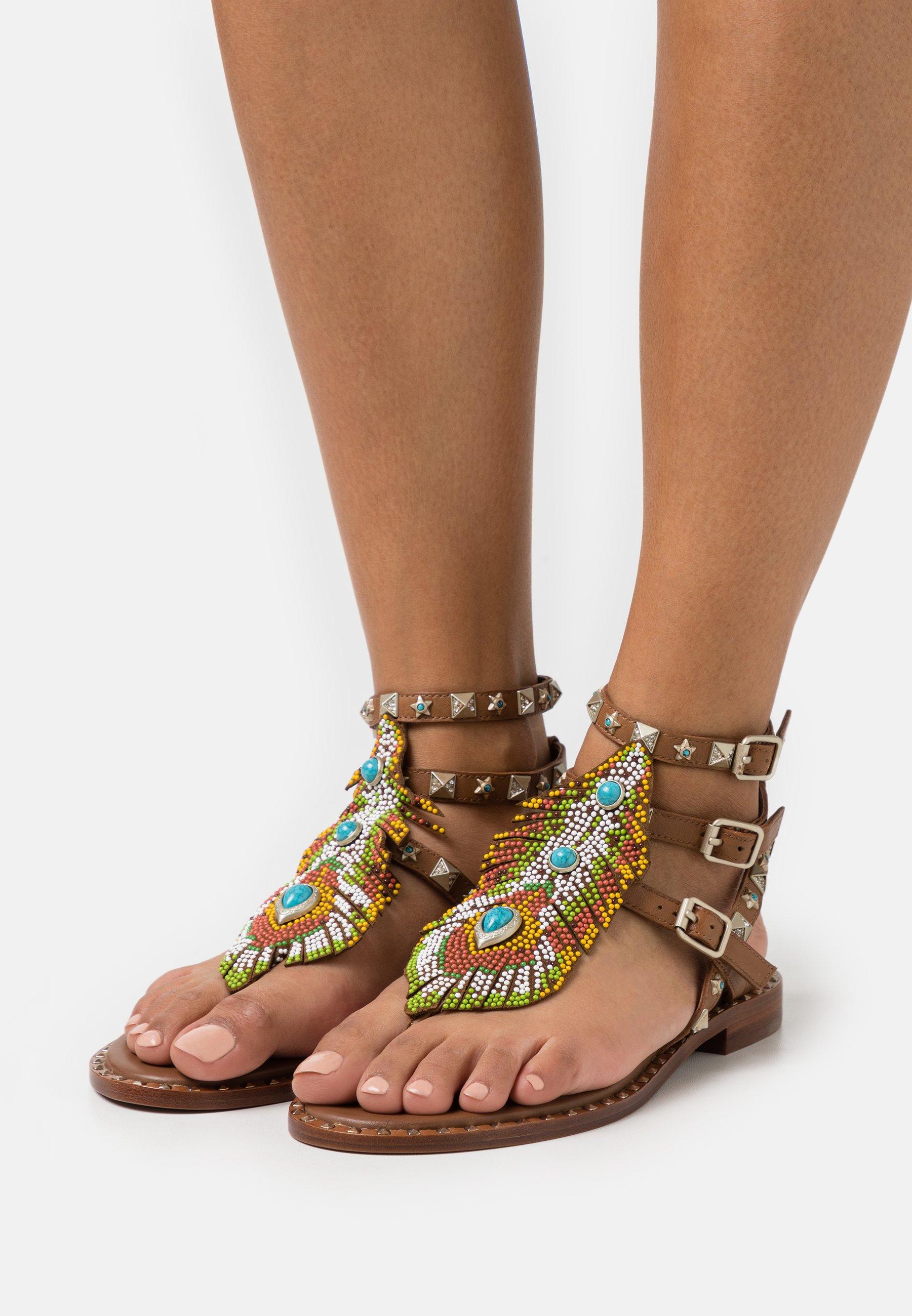 Women T-bar sandals - tan