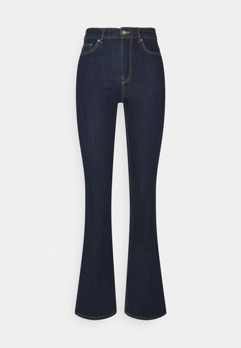 ONLWAUW LIFE FLARED RINSE - Flared Jeans - dark blue denim