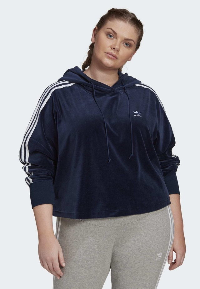 VELOUR CROPPED HOODIE (PLUS SIZE) - Sweat à capuche - blue