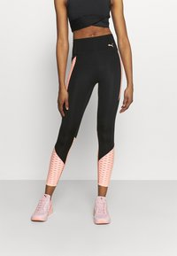 Puma - TRAIN FLAWLESS FOREVER HIGH WAIST 7/8 - Medias - black/elektro peach - 0