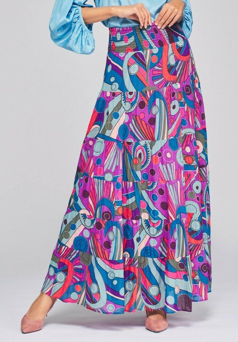 Femme LARGA ESTAMPADA CON POMPONES - Jupe longue