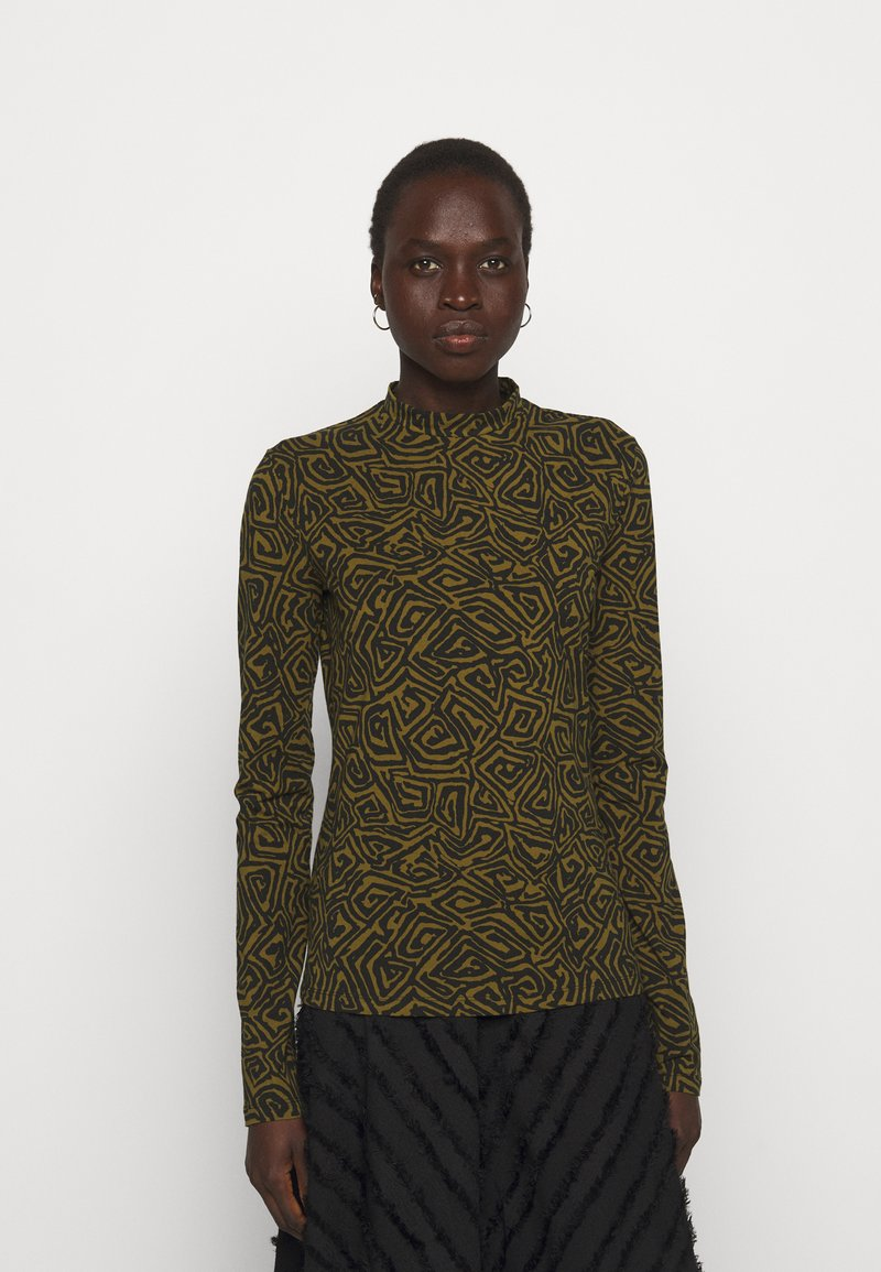 Proenza Schouler White Label - ABSTRACT SWIRL SHEER STRETCH - Long sleeved top - military/black
