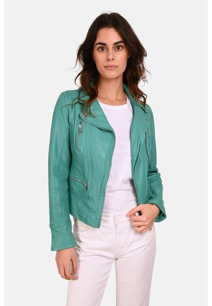 CAMERA - Leather jacket - mottled green