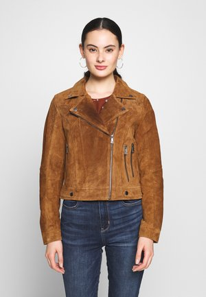 VMROYCESALON SHORT JACKET - Leather jacket - cognac