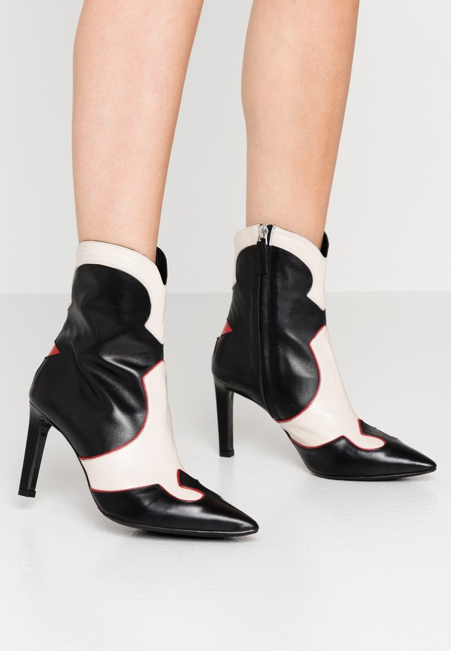 High heeled ankle boots - black/red/white