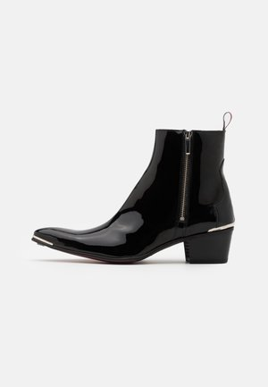 VEGAN SYLVIAN DOUBLE ZIP UNISEX - Cowboy/biker ankle boot - ultra black