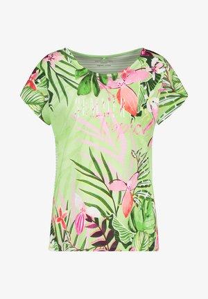 FLORAL BEDRUCKTES  - T-shirt med print - grün/ecru/weiss patch