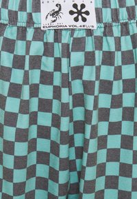 NEW girl ORDER - TEAL CHECKERBOARD TROUSER - Teplákové kalhoty - black/teal - 2