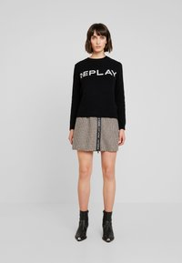 Replay - SKIRT - A-line skirt - ecru/dark brown - 1