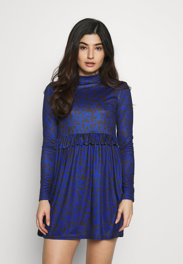 LEOPARD FRLL WAIST DRESS - Jersey dress - blue