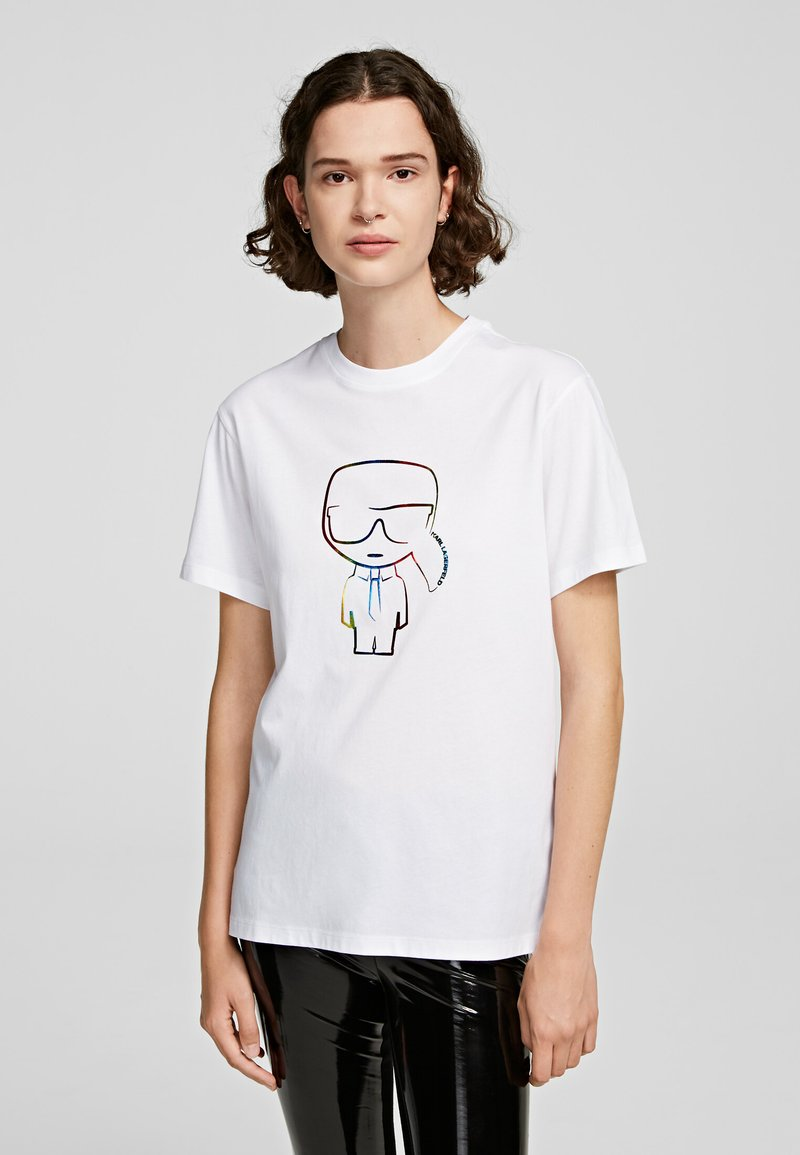 KARL LAGERFELD - T-shirt z nadrukiem - white