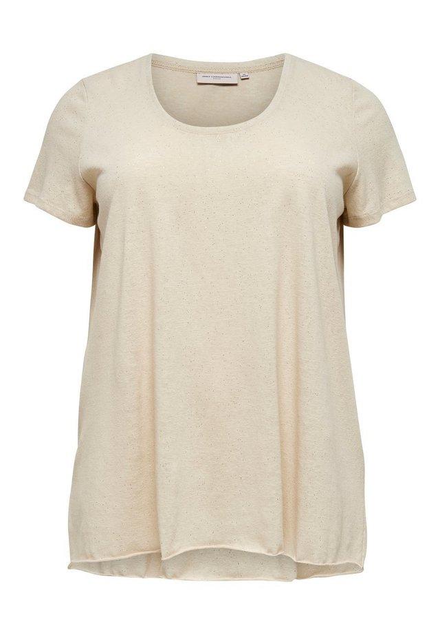 CURVY GLITZER - T-shirt imprimé - oatmeal
