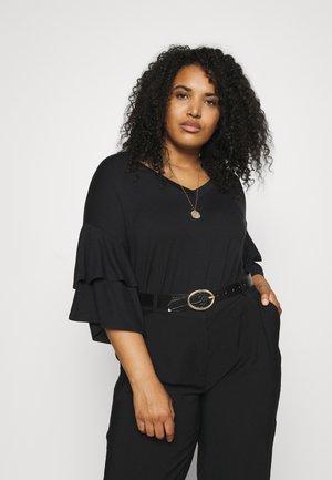 DROP SHOULDER FRILL - T-shirt imprimé - black