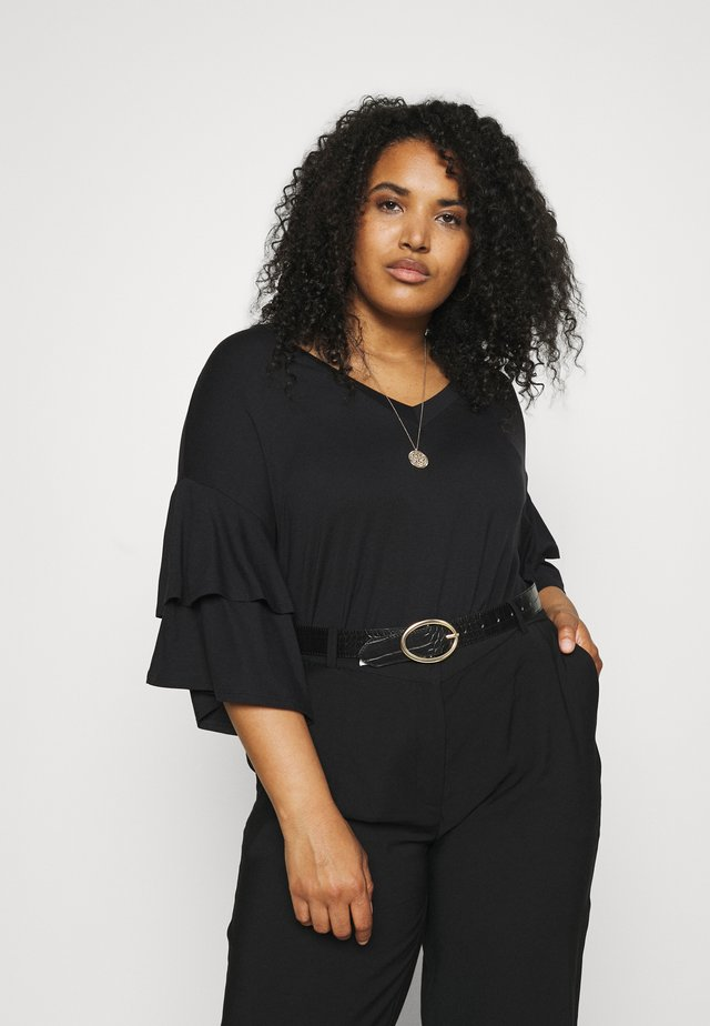DROP SHOULDER FRILL - T-shirt con stampa - black