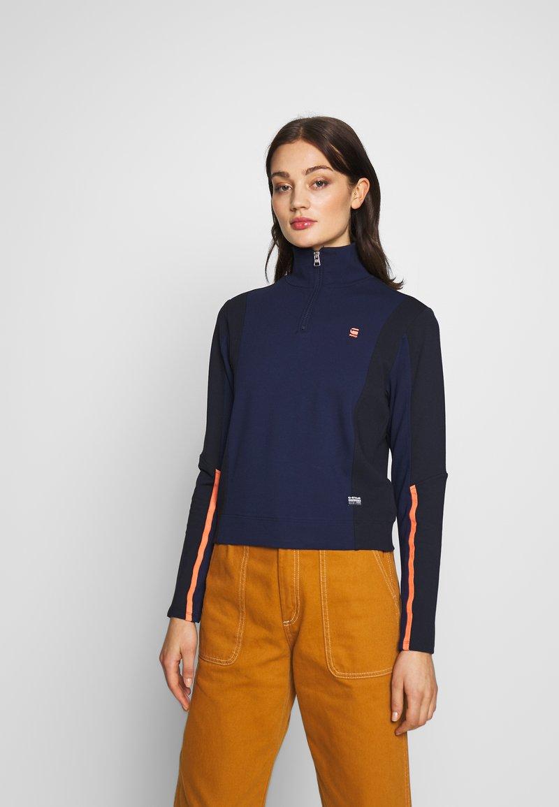 G-Star - NOSTELLE BIKER HALFZIP - Zip-up hoodie - servant blue/mazarine blue