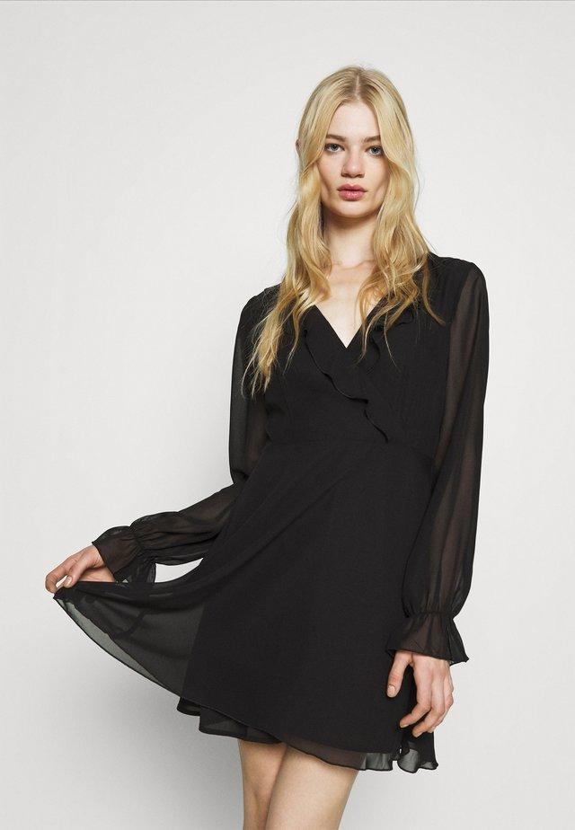 WRAPPED RUFFLE DRESS - Day dress - black