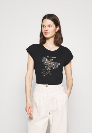 KACRISTY - T-shirt con stampa - black/silver/gold