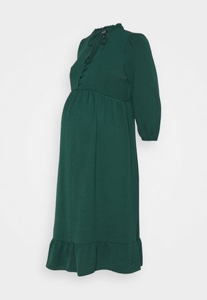 HBONE TIE DETAIL SMOCK DRESS - Vestido camisero - dark green