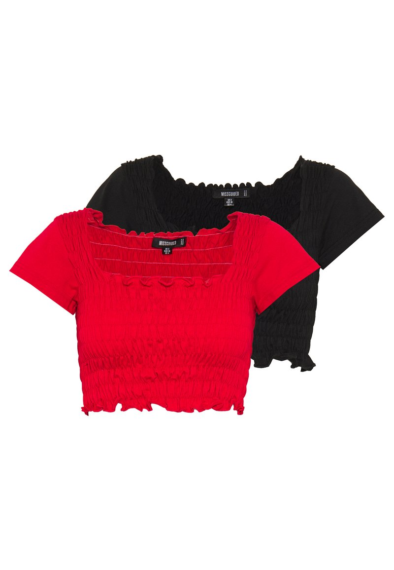 Missguided - SHIRRED CROP 2 PACK - T-shirt basic - red/black