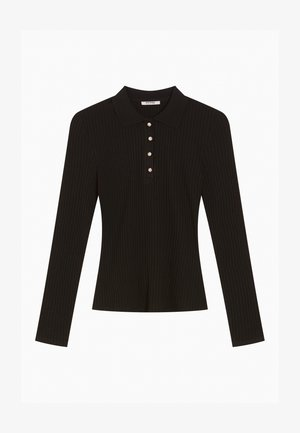 GERIPPTES - Polo shirt - schwarz