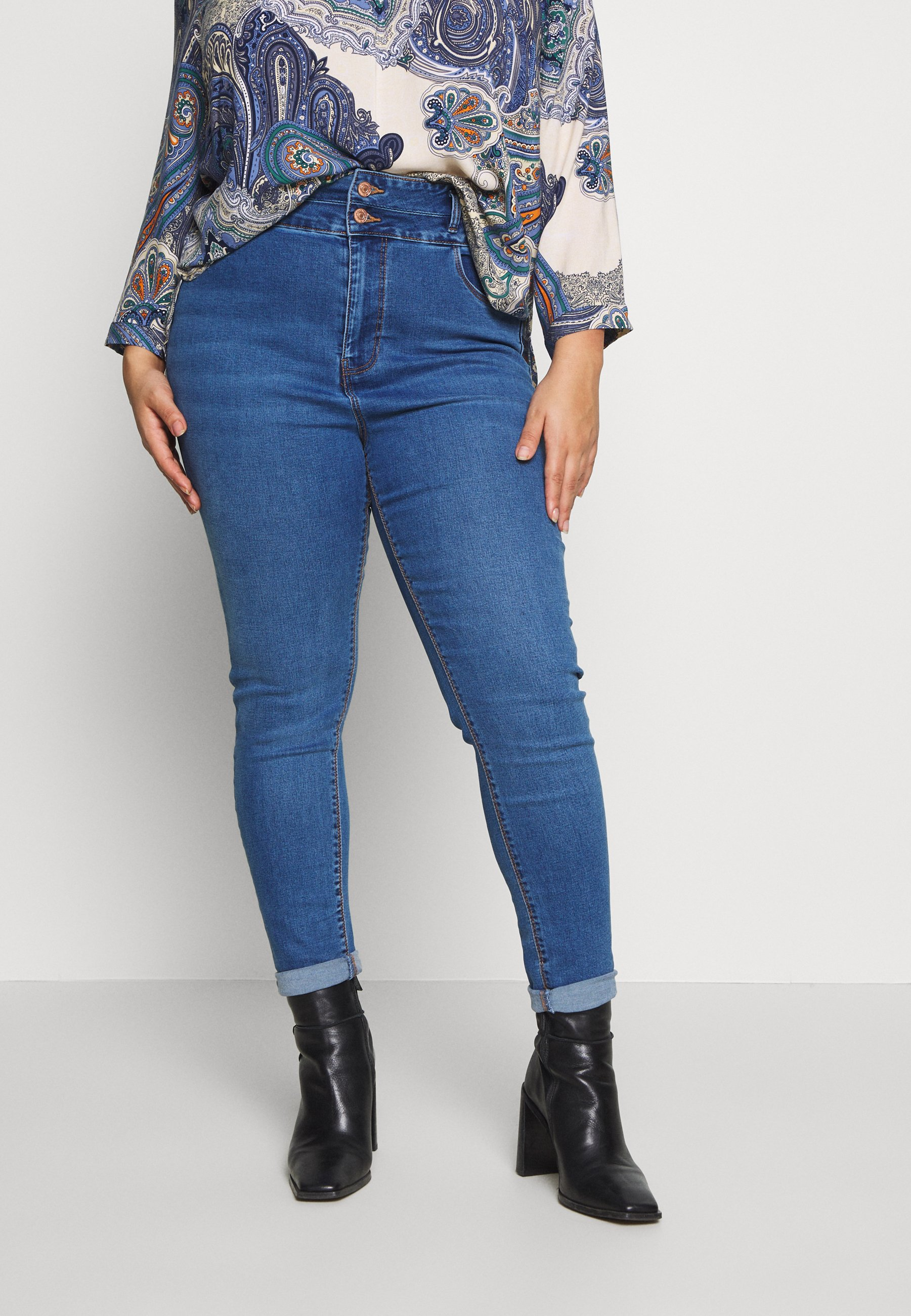 New Look Curves LIFT SHAPE  - Jeans Skinny Fit - mid blue