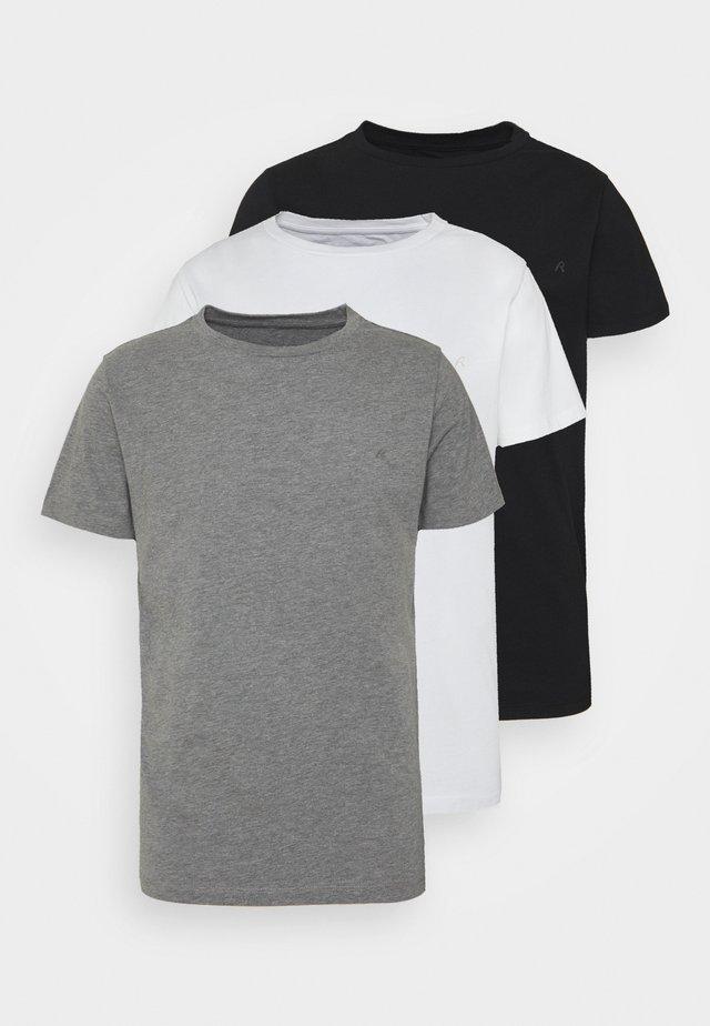 CREW TEE 3 PACK - T-shirt - bas - black/grey melange/white