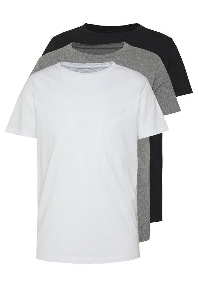 CREW TEE 3 PACK - T-shirt basic - black/grey melange/white