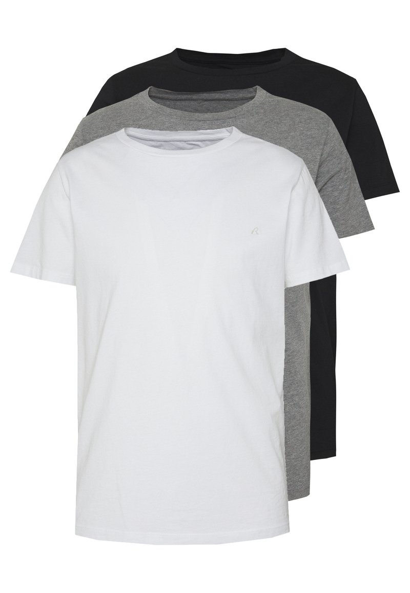 Replay - 3 PACK - T-shirt basic - black/grey melange/white