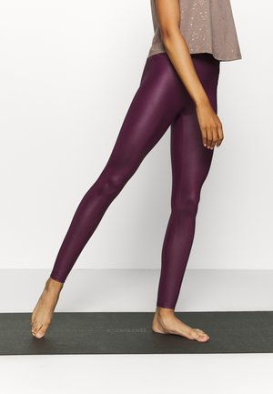 WETLOOK HIGHWAIST LEGGING - Trikoot - burgundy