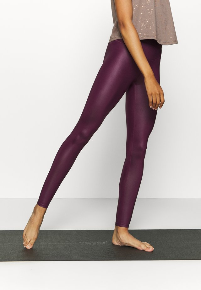 WETLOOK HIGHWAIST LEGGING - Punčochy - burgundy