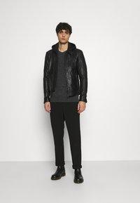 Serge Pariente - RANDALL WITH HOOD - Leather jacket - black - 1