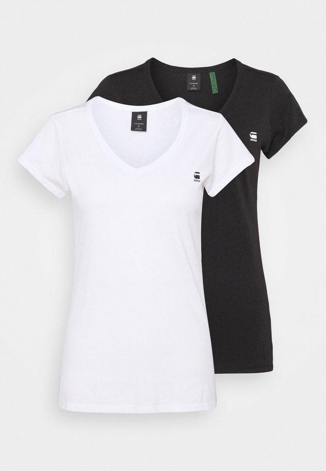 EYBEN SLIM 2 PACK - Basic T-shirt - black/white